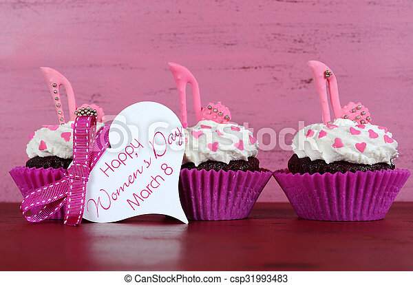 International Womens Day March 8 Cupcakes With High Heel Stiletto Fondant Shoes On Vintage Pink Wood Background Greeting Tag