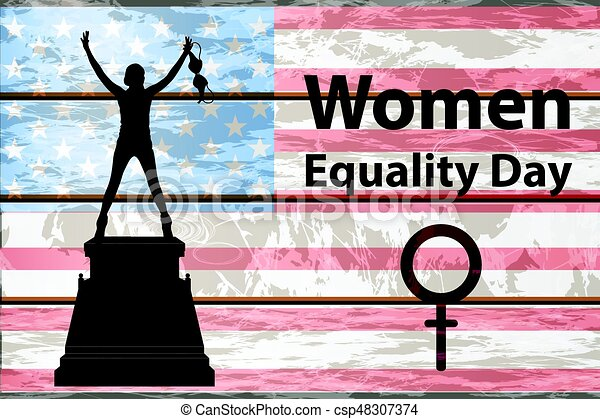 International Womens Day The Girl Is Silhouetted On A Pedestal A