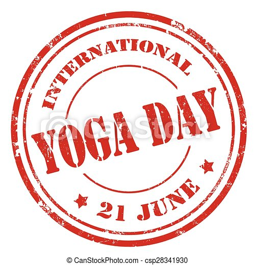 Grunge Rubber Stamp With Text International Yoga Day Vector