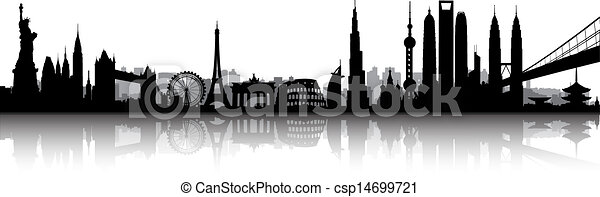 internationell, horisont, vektor - csp14699721