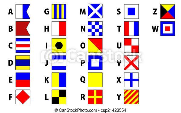 internazionale, bandierine segnale, marittimo - csp21423554