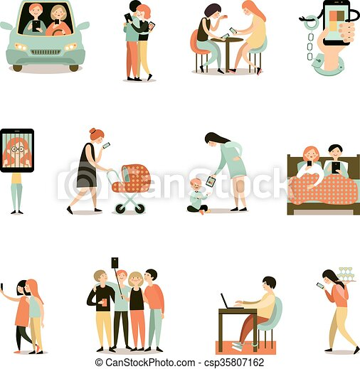 Internet addiction decorative icons set. Internet ...