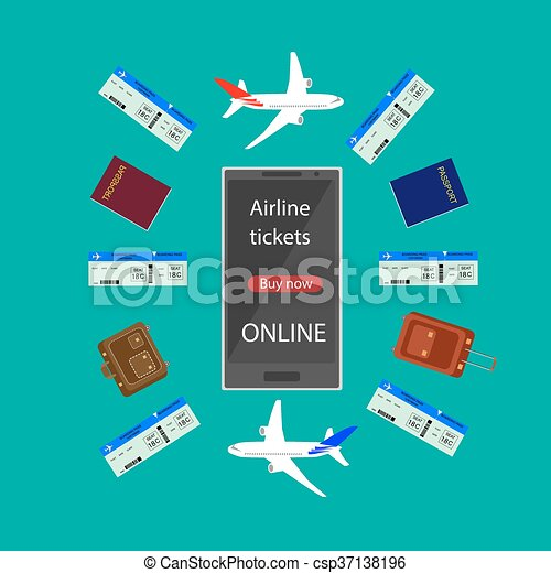 Internet Airline Booking Flight Ticket Online Via Smart Phone Infographic Buying Or Tickets