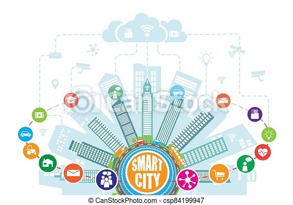 internet, augmented, dienstleistungen, netze, intelligent, fortgeschritten, klug, stadt, sachen, sozial, heiligenbilder, wirklichkeit - csp84199947