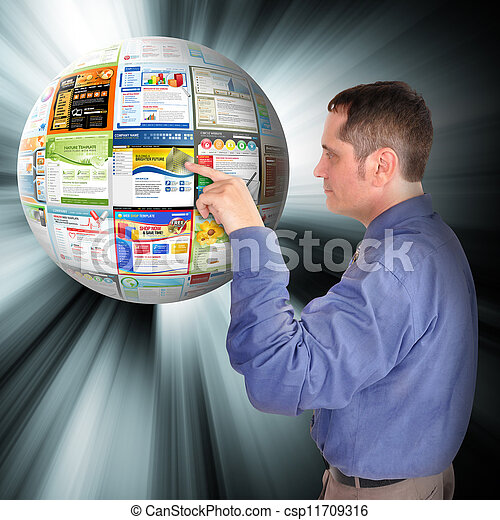 Internet Business Man Pointing to the Web - csp11709316