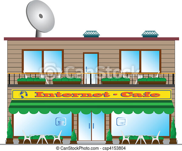 Internet Cafe Building Is Expressed On Eps Vector