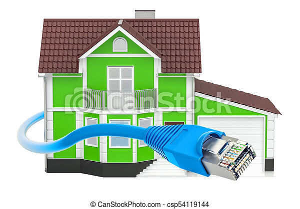 internet connection concept house with lan cable 3d rendering csp54119144 - 3d Drawing Of House