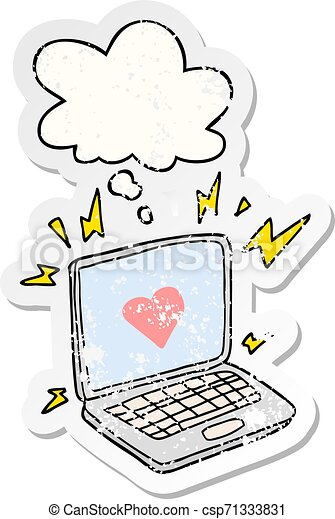 internet dating cartoon and thought bubble as a distressed worn sticker - csp71333831