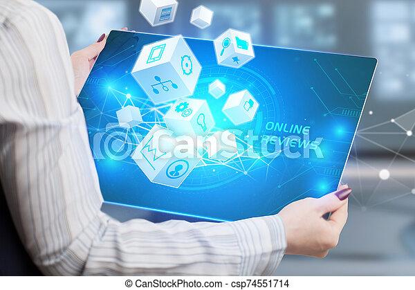 internet, en línea, hombre de negocios, tecnología, red, exposiciones, concept., joven, revisiones, empresa / negocio, word: - csp74551714