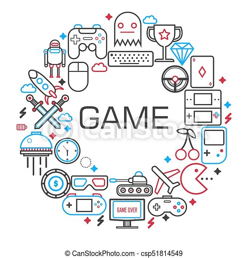 Internet Games Poster Of Electronic Game And Gaming Devices Vector - Game outline