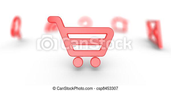 internet het winkelen, kar, pictogram - csp8453307