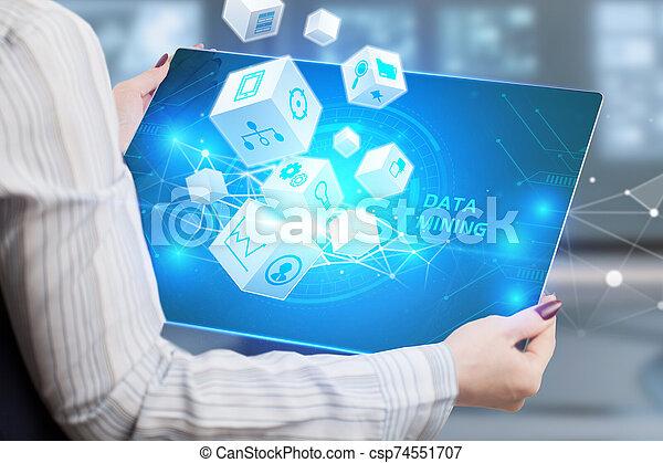 internet, hombre de negocios, minería, tecnología, red, exposiciones, concept., joven, datos, empresa / negocio, word: - csp74551707