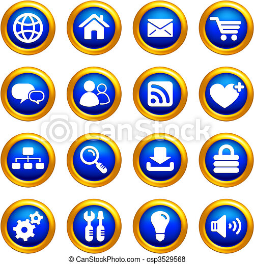 internet icon set on buttons with golden borders - csp3529568