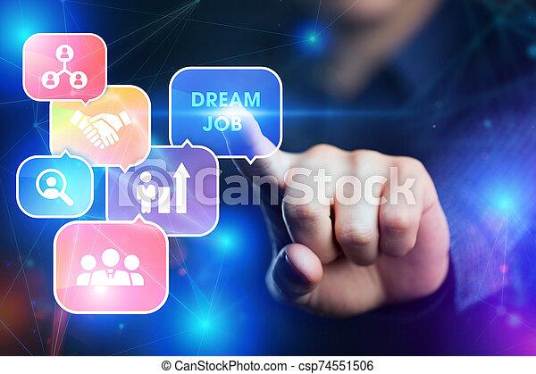 internet, job., hombre de negocios, tecnología, red, exposiciones, sueño, concept., joven, empresa / negocio, word: - csp74551506