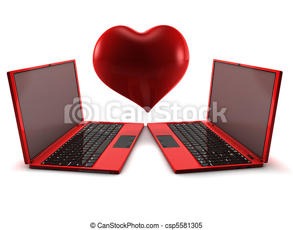 Internet Love concept. 3D render isolated on white. - csp5581305