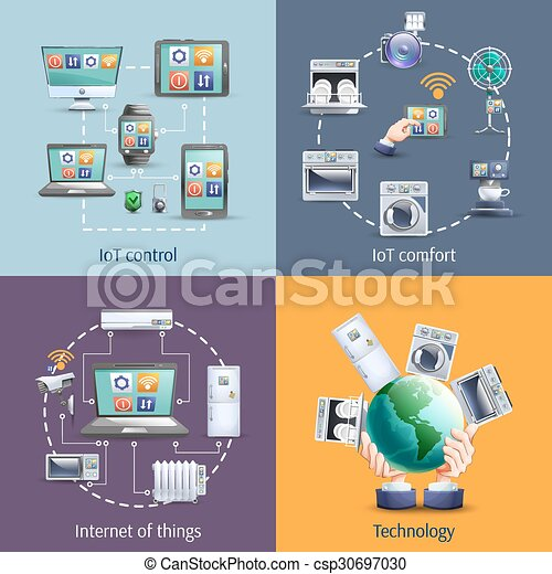 Internet of things 4 flat icons - csp30697030