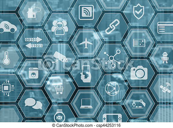 Internet of things IOT generic blue and grey background with blurred city skyline and polygon overlay - csp44253116
