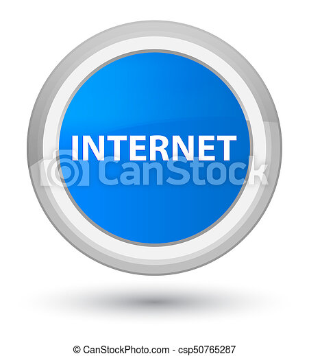 Internet prime cyan blue round button - csp50765287