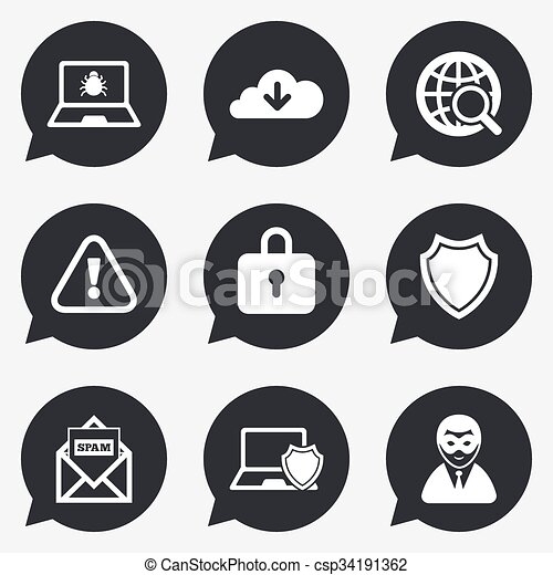 internet privacy icons cyber crime signs virus spam
