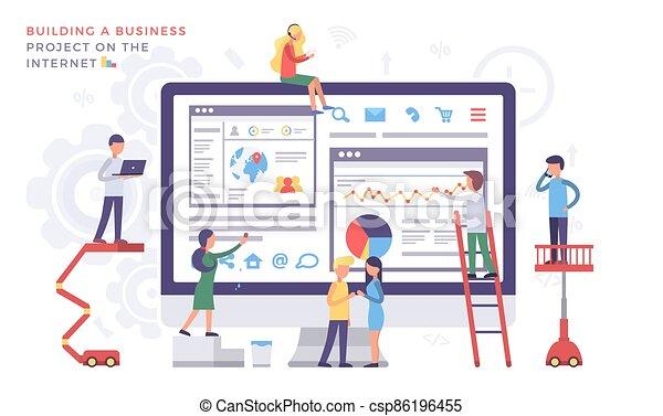 Internet Project, Building Online Business Concept - csp86196455