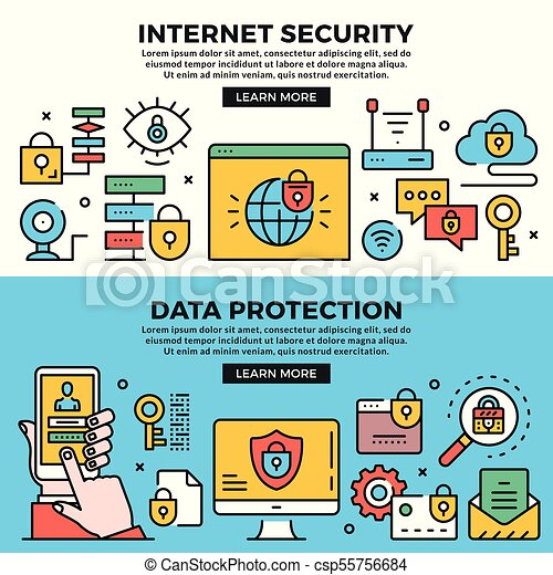 Internet security, data protection web banners set. line art ...