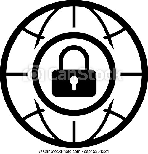 internet security icon flat design business concept isolated