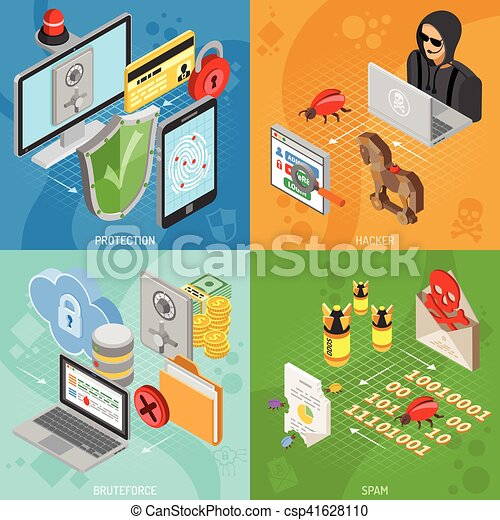 Internet Security Isometric square Banners - csp41628110