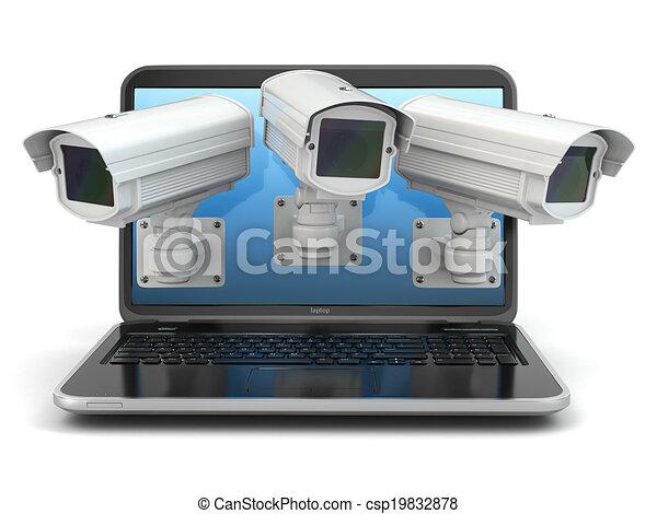 Internet security. Laptop and CCTV - csp19832878