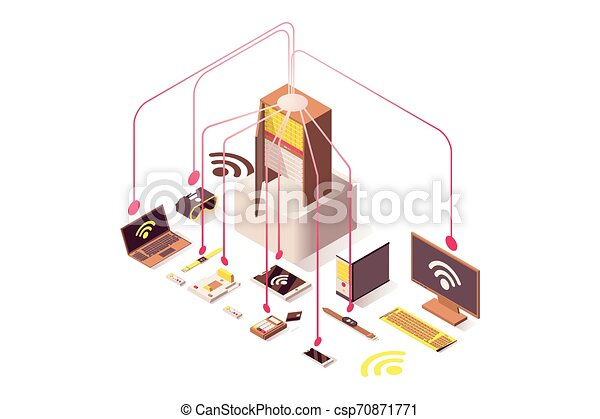 Internet server vector isometric illustration. Computer hardware equipment, Internet of things, cloud system, portable devices. Wifi wireless technology, database storage isolated 3d - csp70871771
