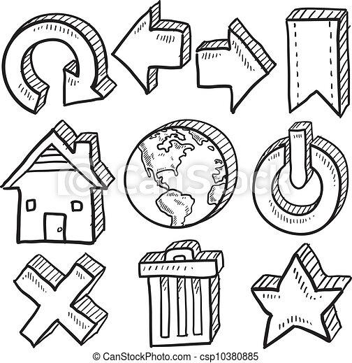 Internet symbol vector sketches - csp10380885