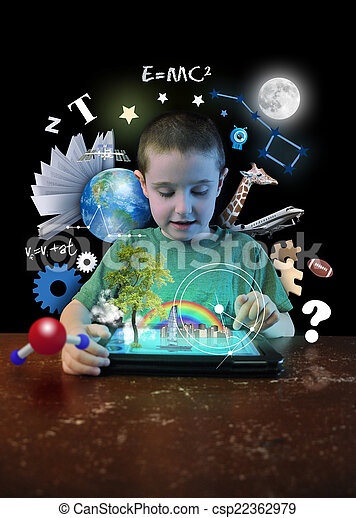 Internet Tablet Boy with Learning Tools - csp22362979