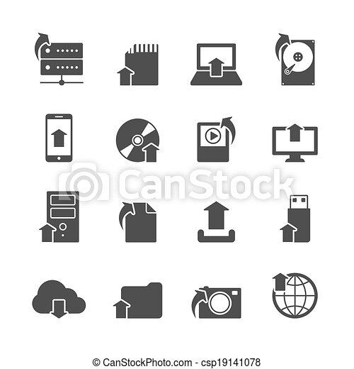Internet upload symbols icons set - csp19141078