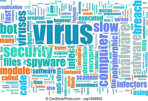 Internet virus through pc browser surfing art.