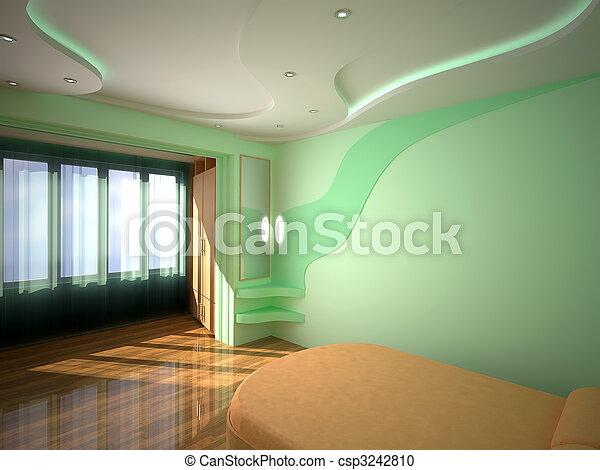 interno, 3d, camera letto - csp3242810