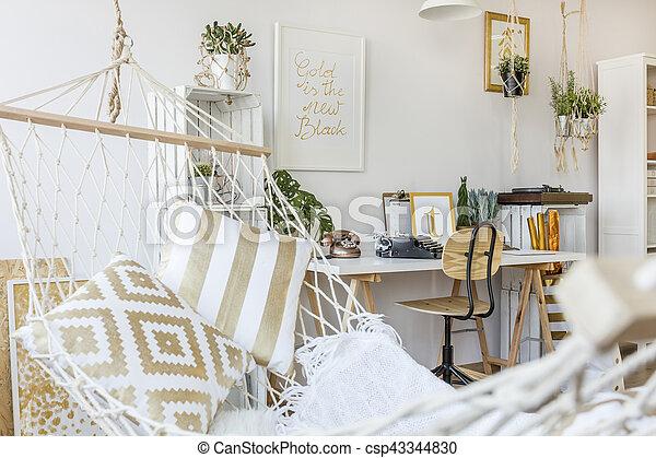 interno, amaca, stanza - csp43344830