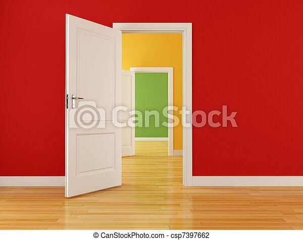 interno, aperto, vuoto, porte - csp7397662