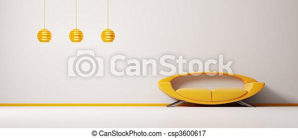 interno, arancia, divano, 3d - csp3600617
