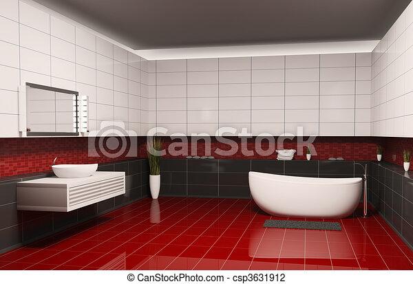 Pavimento Rosso E Bianco : Interno bagno d pavimento stanza bagno pareti nero interno