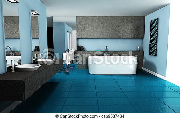 Interno bagno disegno blu bagno colorato rendering