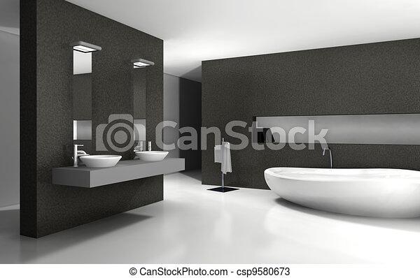 Interno, bagno, disegno. Bagno, moderno, rendering., contemporaneo ...