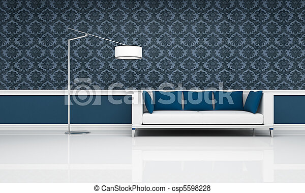 interno, bianco, blu, classico, divano, moderno - csp5598228