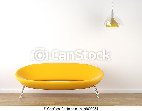 interno, bianco, disegno, divano giallo - csp6009084