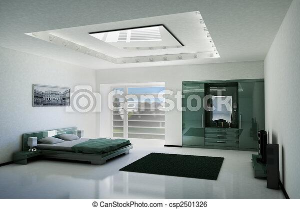 interno, camera letto, 3d - csp2501326