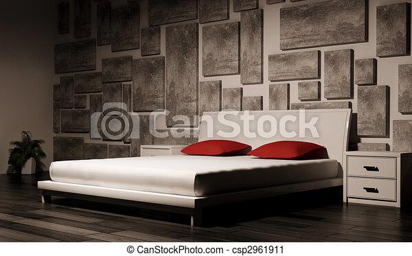 interno, camera letto, 3d - csp2961911
