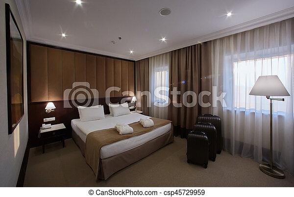 Interno, camera letto hotel. Albergo, due, letti, singolo ...
