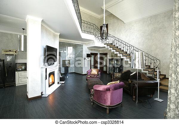 interno, caminetto, passi - csp3328814