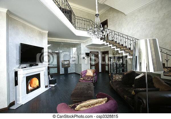 interno, caminetto, passi - csp3328815