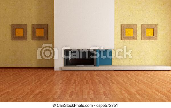 interno, caminetto, vuoto - csp5572751