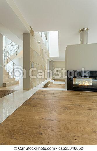 Interno, casa, moderno, beige, spazioso.