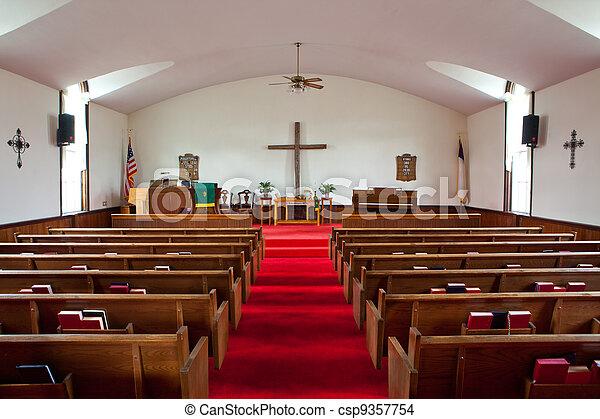 interno, chiesa paese - csp9357754